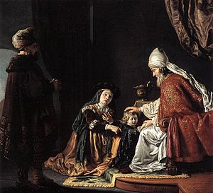 Hannah presenting Samuel to Eli, by Jan Victors, 1645